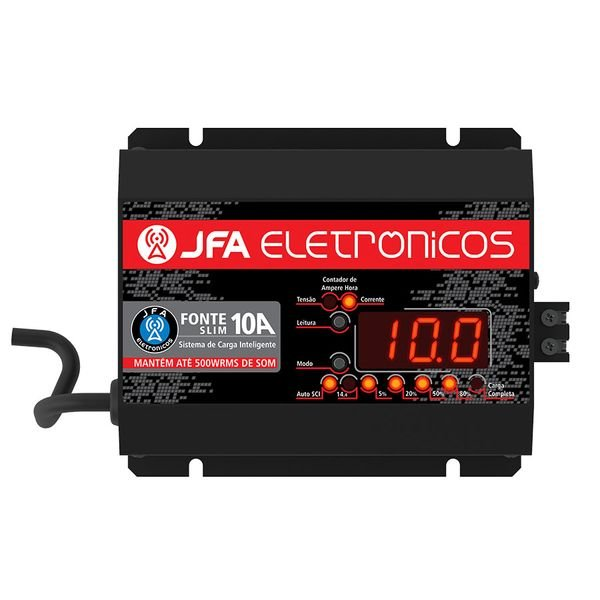 carregador de bateria fonte automotiva 10 amperes slim jfa