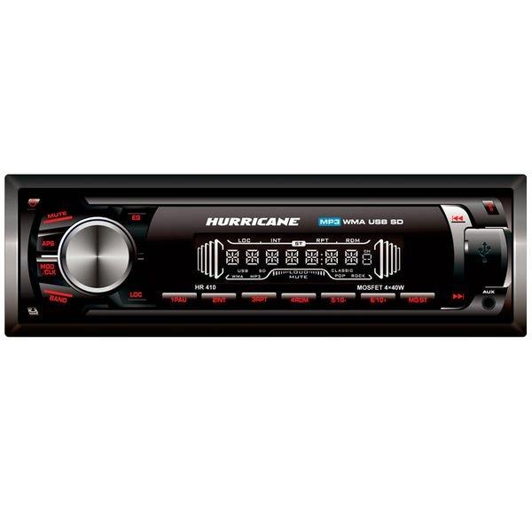 Rádio Automotivo HR410 USB / SD / AUX / FM 4x40W Preto Hurricane