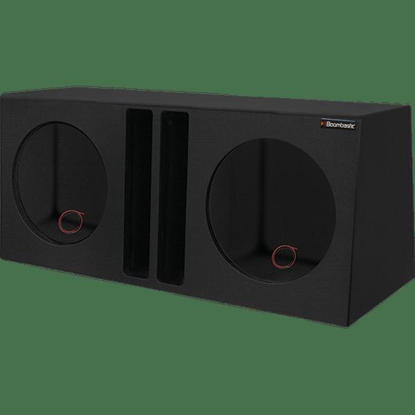 caixa dutada hiper bass para 02 alto falantes de 12 duto regua boombastic preto