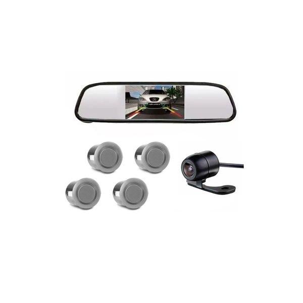 sensor estacionamento tech one prata com camera re e retrovisor com display