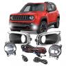 Kit Farol de Milha Jeep Renegade 2016>17 Botão Universal Moldura Cromada Shocklight