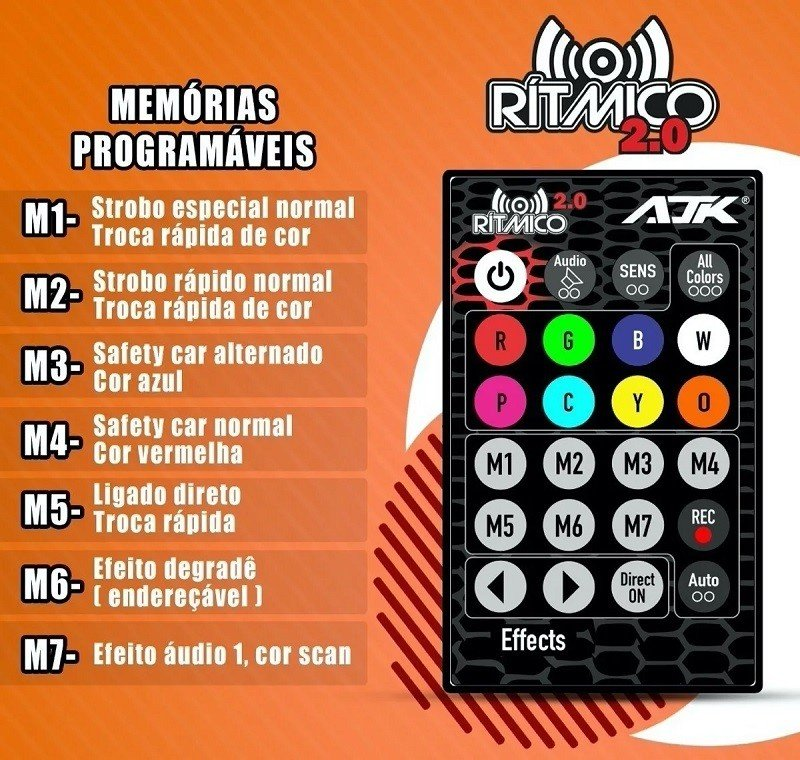 kit strobo rgb 2 0 ritmico com controle remoto ajk sound 2