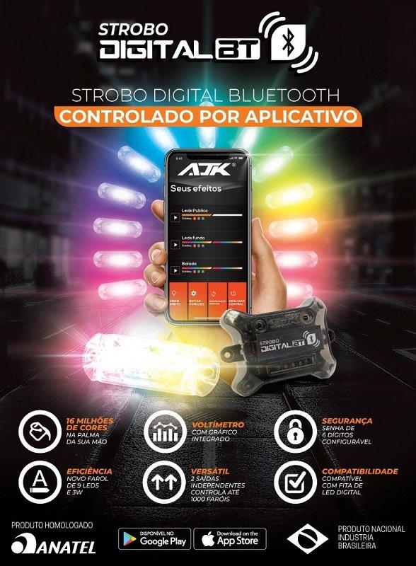 kit iluminacao strobo digital bluetooth ajk 3