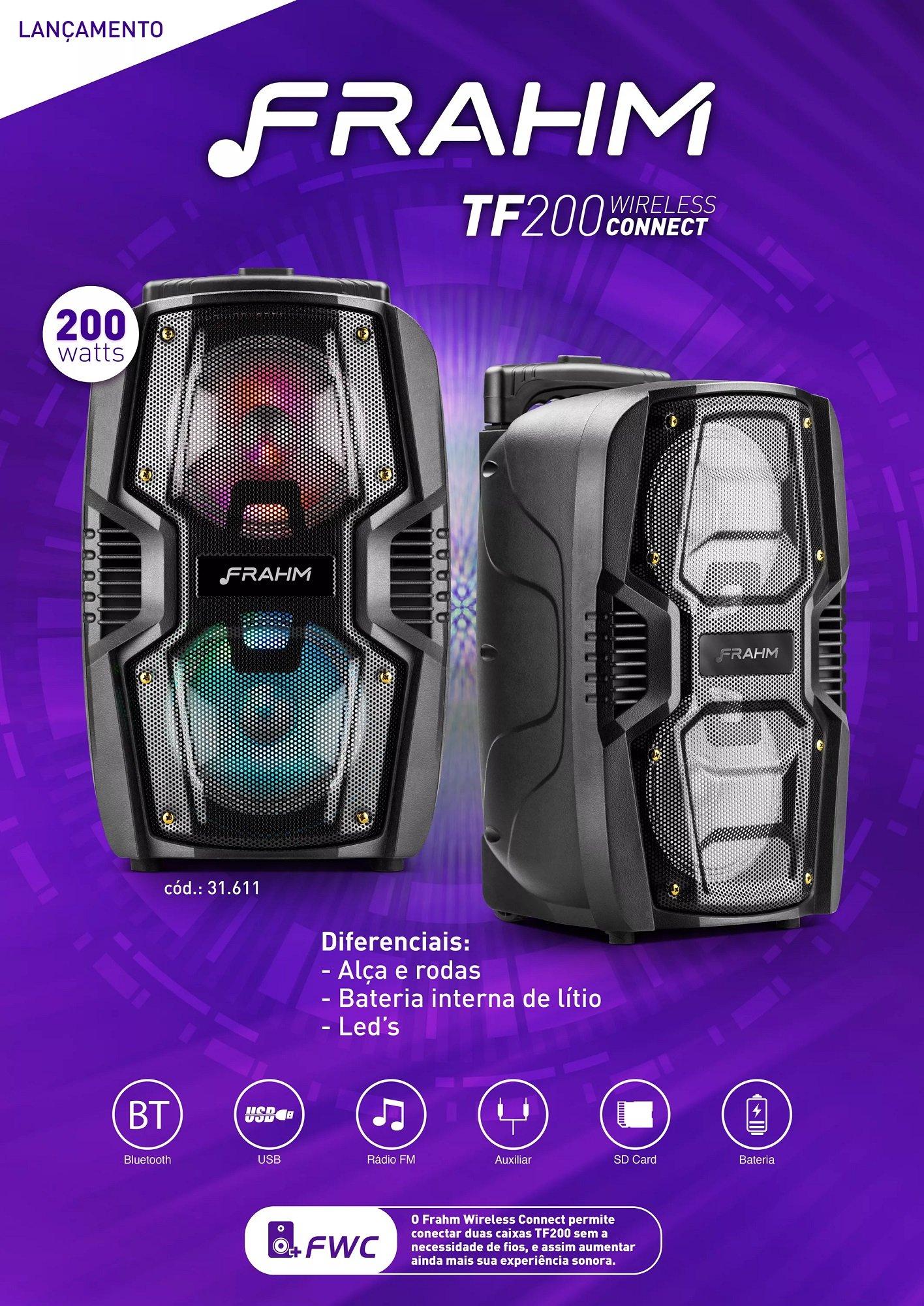 mini torre de som bluetooth tf 200 wireless connect 200w rms usb frahm 4