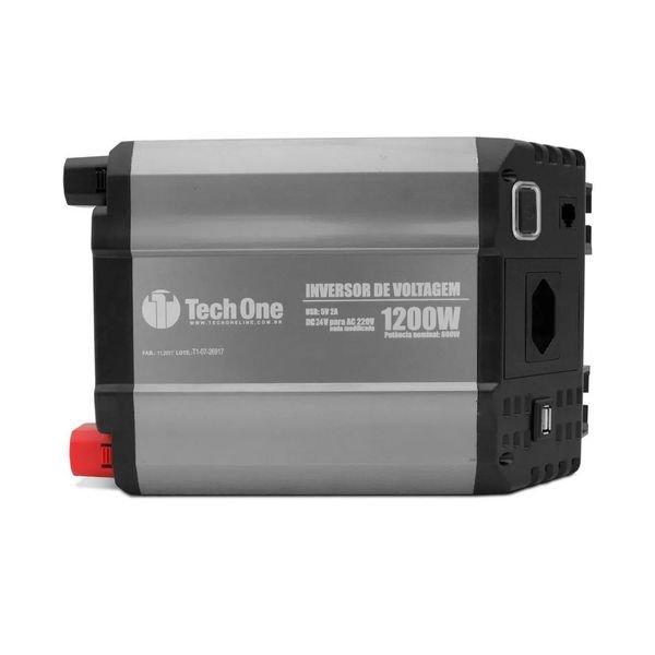 inversor de voltagem com usb 1200w 24v 220v techone
