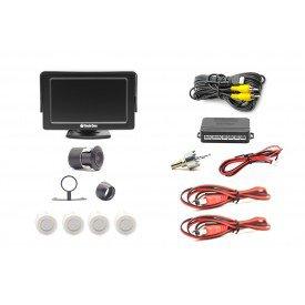 sensor de estacionamento com monitor e camera flex branco techone